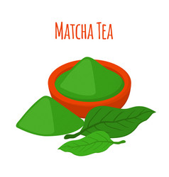 Matcha tea drink powder leaves of asian tea vector