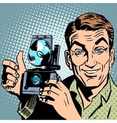 Photographer with retro camera hand gesture all is vector image vector image