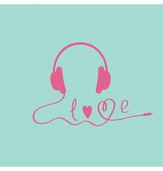 Pink headphones blue background love card vector