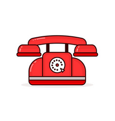 red retro vintage phone modern vector image