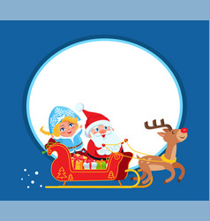 Santa claus and snow maide on sleigh with deer vector