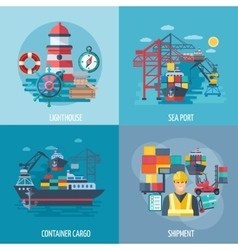 Sea port flat set vector