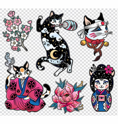 set of flash style japanese cat patches stickers vector image vector image