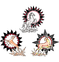 Totems - horse and antelope with solar signs vector image vector image