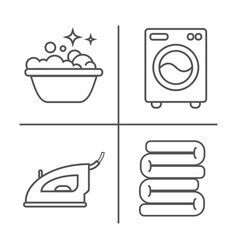 Washing ironing clean laundry line icons vector