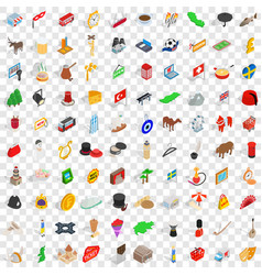 100 europe icons set isometric 3d style vector image vector image