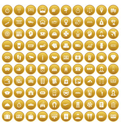 100 paying money icons set gold vector
