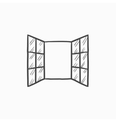 Open windows sketch icon vector image