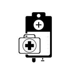 Iv drip bag and first aid kit icon vector