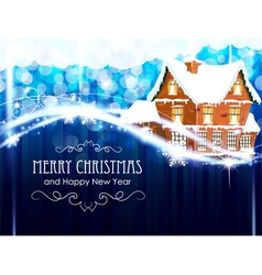 Brick cottage on a blue christmas background vector