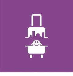 Logo with suitcase car and city vector