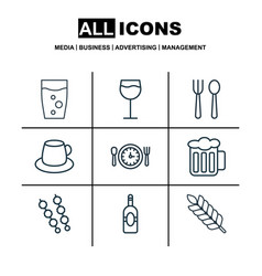 Set of 9 food icons includes meal hour coffee vector
