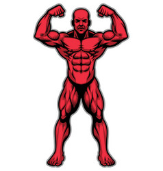 Bodybuilder athlete showing his muscle body vector