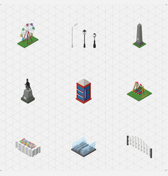 isometric city set of recreation barricade dc vector image