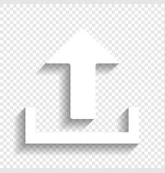 Upload sign white icon with vector