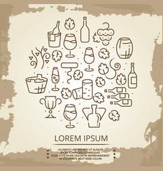 vintage poster with drinks - wine logo on vintage vector image
