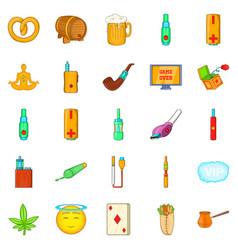 Bad habits icons set cartoon style vector