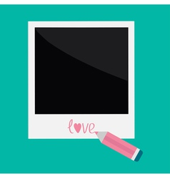 Instant photo and pencil in flat design style love vector