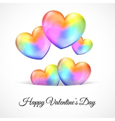 Background with multicolor heart balloons vector