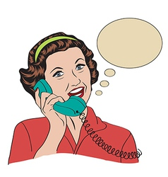 Popart comic retro woman talking by phone vector