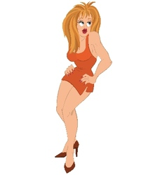 Cartoon girl with blond hair in orange dress vector image