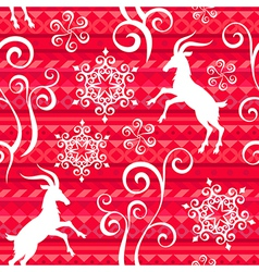 Pattern goat year red vector