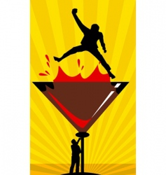 Men drinking wine vector
