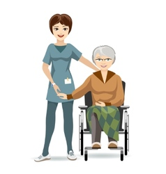 Senior woman on wheelchair and nurse vector