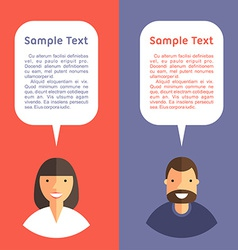 Father and mother with speech bubbles flat design vector