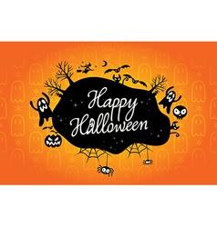 Happy halloween text design background vector