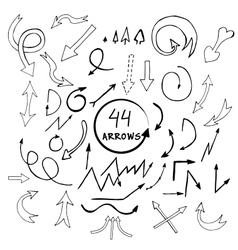 Hand drawn arrows icons set isolated on vector