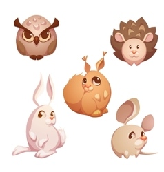 Set of small forest cute animals vector