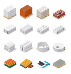 Construction materials isometric icon set vector