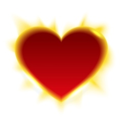Fiery heart heart shape of sun vector