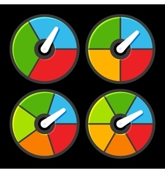 Circle color indicators power meter set vector