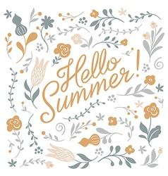 Hello summer lettering on white background vector