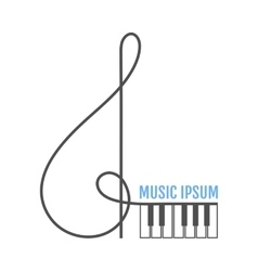 Treble clef piano keys music icon logo vector
