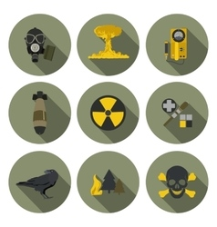Nuclear war flat icons vector