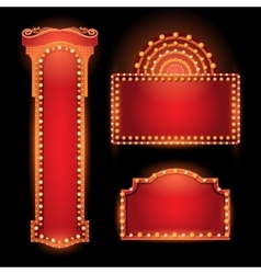 Brightly theater glowing retro cinema neon sign vector