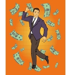 Man dancing with money flying around vector