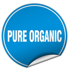 Pure organic round blue sticker isolated on white vector