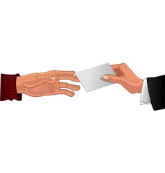 Male hand pass white business card to other male vector