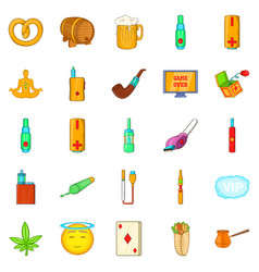 Bad habits icons set cartoon style vector