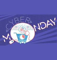 Banner on cyber monday cart vector