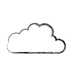 Blurred thick contour cloud shape in cumulus icon vector