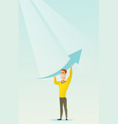 Business man holding arrow going up vector