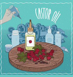 Castor oil used as grease lubricant vector