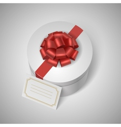 Classic giftbox with red ribbon bow and blank vector image vector image