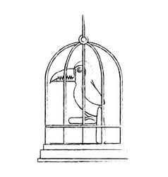 Cute bird toucan in cage mascot vector