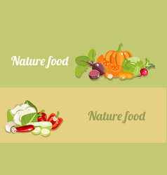 different banner with vegetables healthy food vector image vector image